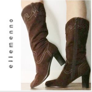 Ellemenno Brown Pink Faux Suede Heeled Boots 9.5